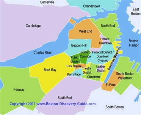 sections of boston boston neighborhoods attractions map boston discovery