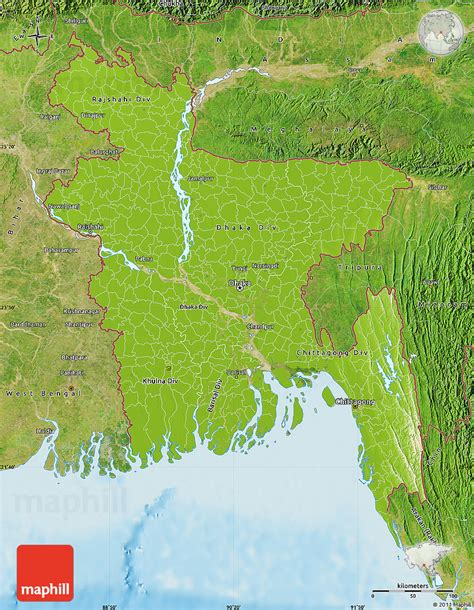 geographical map of bangladesh physical map of bangladesh satellite outside shaded