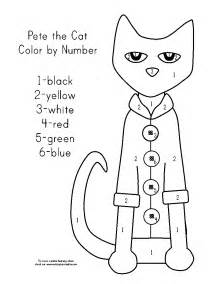 pete the cat coloring page pete the cat and his four groovy buttons color by number