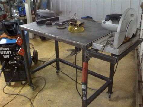 welding table designs welding table with flush mount chopsaw garage