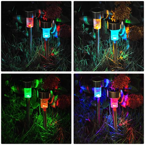 Colored Solar Lights Outdoor 24x Colored Stainless Steel Led Solar Power Path Lights Landscape Pathway Light Ebay