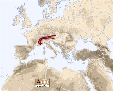 alps mountains map europe atlas the mountains of europe and mediterranean basin alps