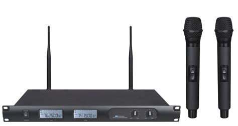 Mic Wireless Doubel Sound Uhf Dielngkapi Lcd Display 7400 wireless microphone system uhf dual channel lcd display rack mountable lavalier mic