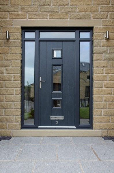 Contemporary Upvc Front Doors Genoa Composite Door With Integrated Top And Side Lights In Grey With Etched Glass Design