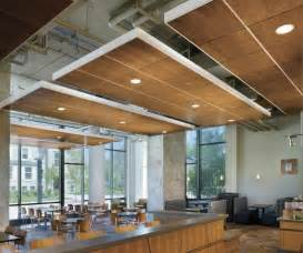 flat floating wood ceiling panels with view of ceiling