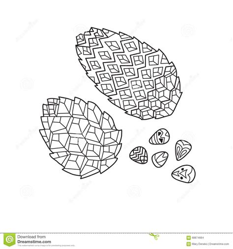 anti stress coloring book doodle and color your stress away zentangle the baikal pinecones stock vector image 68874664