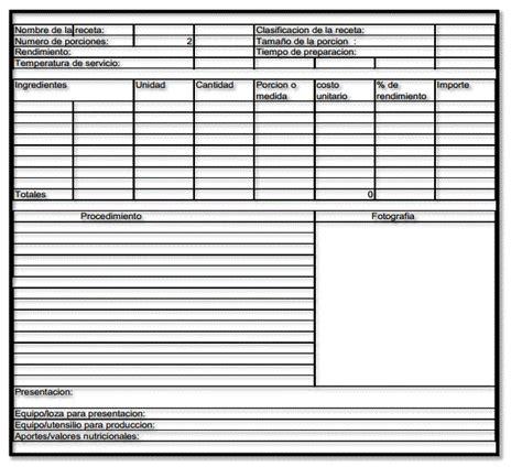 formato 1 receta estandar administraci 243 n de empresas tur 237 sticas online receta est 193 ndar