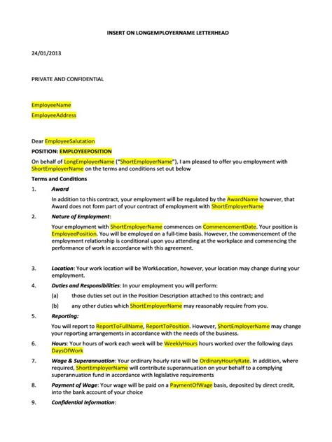 Employment Letter Contract Hr Advance Hr Advance Agreements