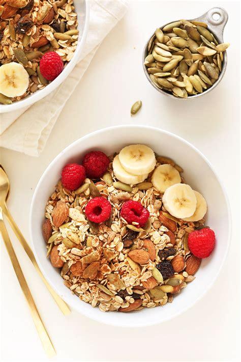 Tropical Muesli Cereal Healthy Food Healthy Breakfast toasted pumpkin muesli minimalist baker recipes