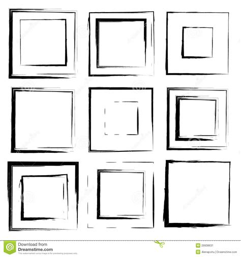 design elements square vector set of grunge square brush strokes stock image