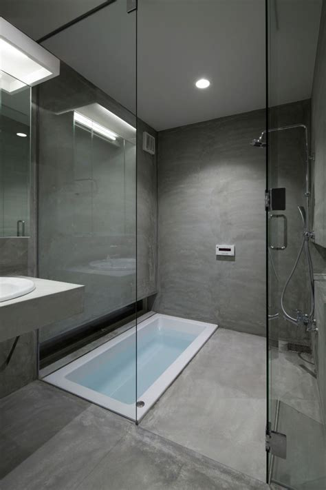 Grey Contemporary Bathroom With A Drop in Tub And Alcove