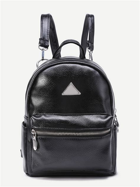 Pu Detail Backpack triangle detail pu backpack with detachable shein