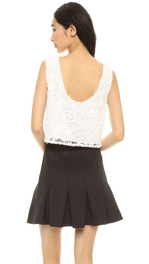 Ens Dress Racel Spandex Soft 45 zoe nigel lace shell top ivory in white lyst