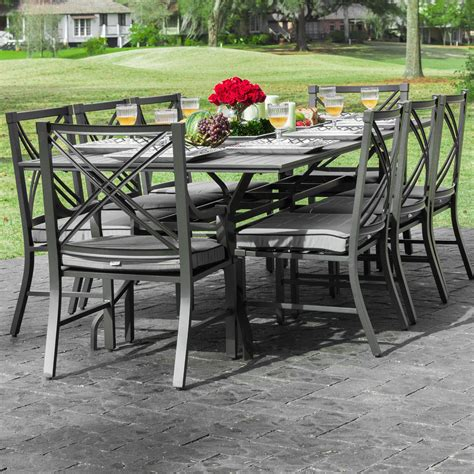 Audubon 8 Person Aluminum Patio Dining Set With 6 Side 8 Person Patio Dining Set