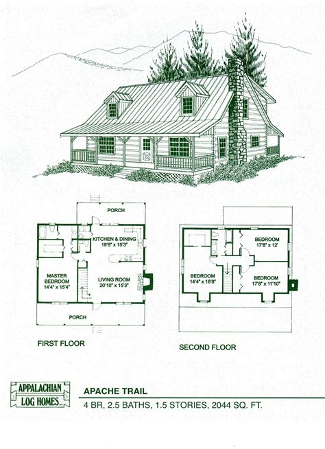Log Cabin Floor Plans Log Home Package Kits Log Cabin Kits Apache Trail Model