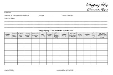 ship log book template shipping log