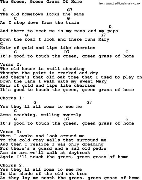 green grass of home lyrics and chords