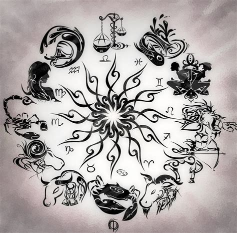 astrological tattoo designs zodiac wheel with sign aries design kamistad