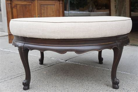 Large Ottomans For Sale Large Vintage Carved Walnut And Linen Upholstered Pouf Ottoman For Sale At 1stdibs