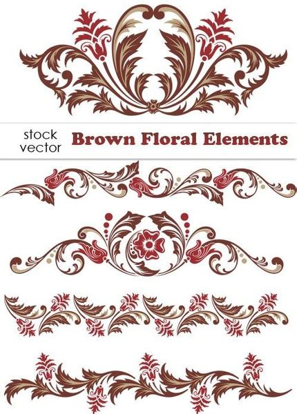 brown floral pattern border brown floral design elements vector borders free vector in