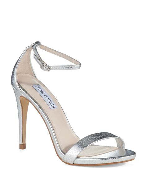 strappy silver sandals steve madden stecy strappy sandals in silver lyst