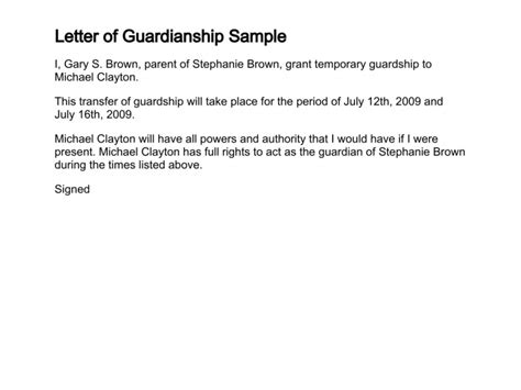 Proof Of Guardianship Letter Letter Of Guardianship