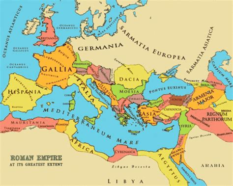 political map of rome the empire at its greatest extent a political map