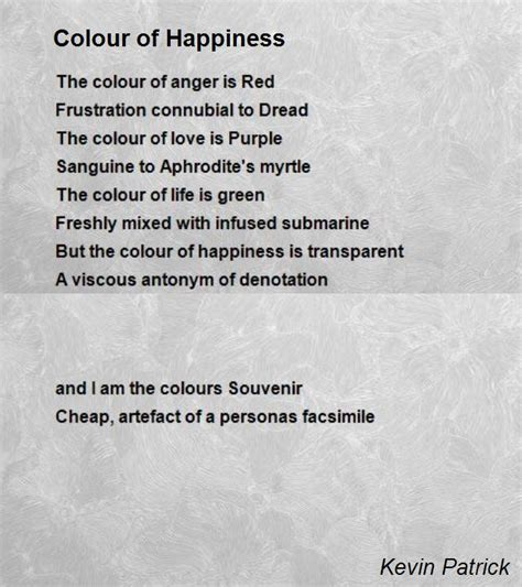 color of happiness colour of happiness poem by kevin poem