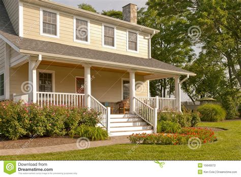 Southern Colonial House Plans suburban house with white porch stock photography image