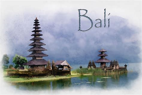 Bali Home Decor Online by Lake Bratan Bali Indonesia Text Bali Painting By Elaine