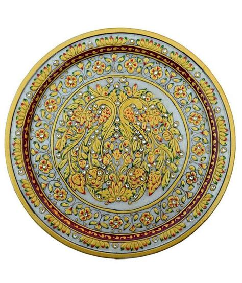 decorative marble design chitrahandicraft yellow marble decorative design plate