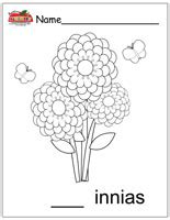Coloring Page Zinnia by Letter Z Activities Preschool Lesson Plans