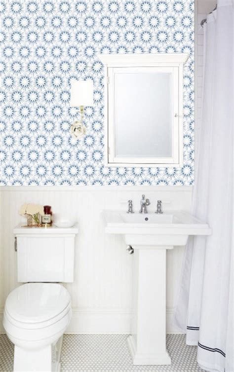 easy quick bathroom makeovers with removable wallpaper