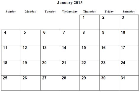 printable month calendar january 2015 image gallery month of january 2015