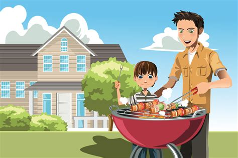 father and son cartoon a father s day barbeque washington style raging chicken