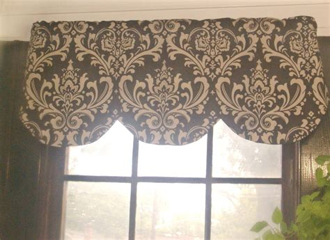 Brown Valance Curtains Window Curtain Valance Damask Brown Beige Linen 42 X 16 Inches
