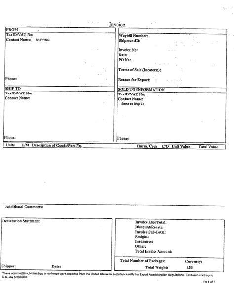 Ups Customs Invoice Invoice Template Ideas Commercial Invoice For Customs Template