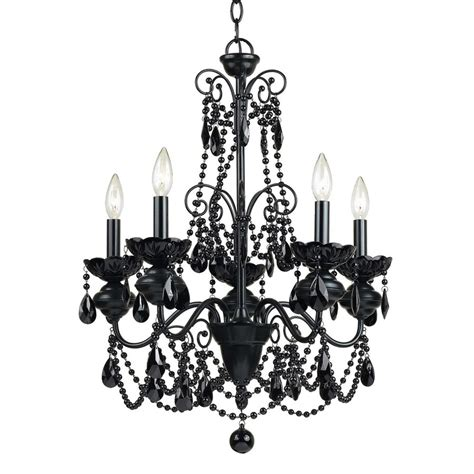 Shop Af Lighting Mischief 21 In 5 Light Black Candle Lowes Chandeliers Black