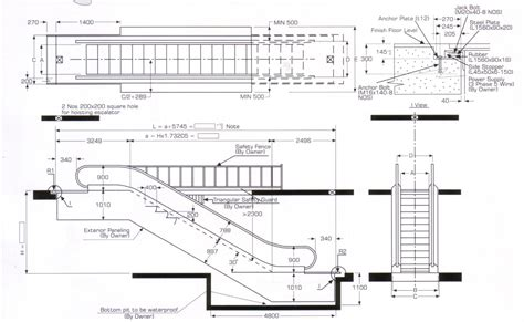 escalator floor plan escalator lay out and dimension