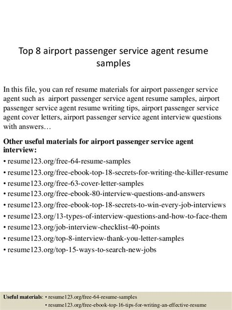 Resume Customer Service Airport Top 8 Airport Passenger Service Resume Sles