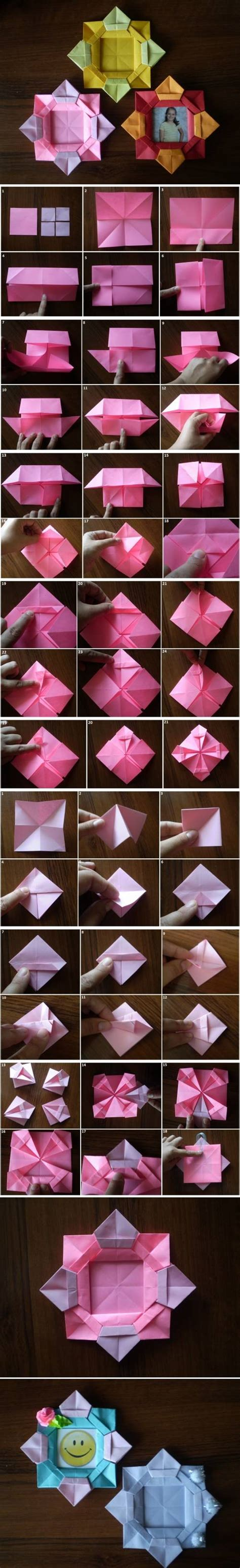 Picture Frame Origami - how to make origami flower picture frame step by step diy