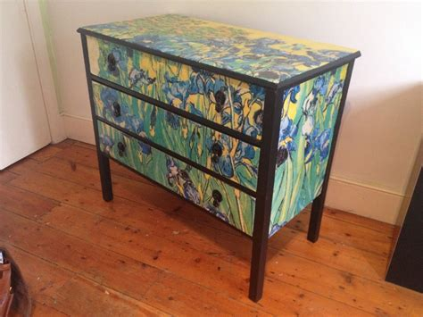 Decoupaging Furniture - decoupage furniture gogh irises chest 3 by