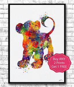 Lion King Home Decor by Simba The Lion King Watercolor Art Children S Room Decor