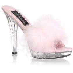 high heel pink marabou bedroom slippers and wide