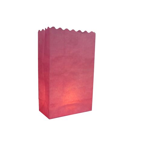 pink solid color luminarias paper craft bag 10 pack fire