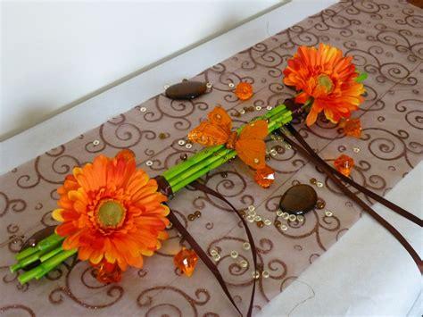 decoration florale maison composition florale centre de table sur bambou margueritte