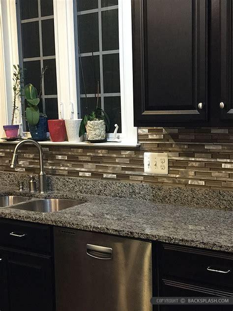 Kitchen Backsplash Metal brown metal glass mixed mosaic kitchen backsplash tile