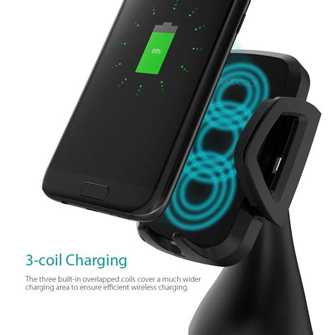 dodocool 10w 3 coil fast wireless car charger for iphone x iphone 8 plus iphone 8 samsung