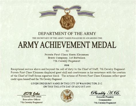 army good conduct medal certificate template best