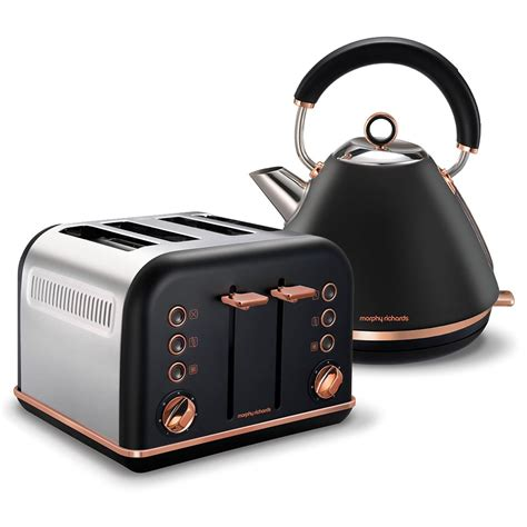 black accents rose gold pyramid kettle and 4 slice toaster set